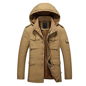 Men's Coat Parka Going out Solid Color Casual / Daily Polyester Black / khaki / Army Green L / XL / XXL