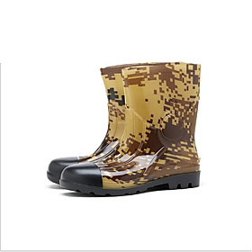 Men's Boots Daily PVC Waterproof Non-slipping Wear Proof Black / White / Black / Army Green Camouflage Spring / Fall