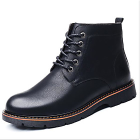 Men's Boots Vintage / British Daily PU Warm Waterproof Non-slipping Black / Brown Fall / Winter
