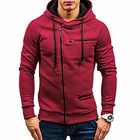 men's hoodies long sleeve zipper coat pullover sweatshirts for autumn(red,l)