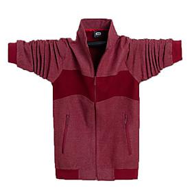 Men's Jacket Regular Color Block Daily Basic Black Red Green L XL XXL
