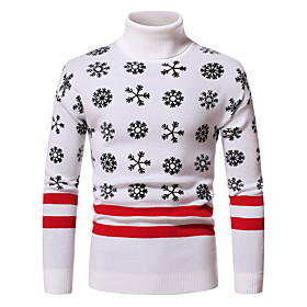 Men's Christmas Knitted Abstract Pullover Long Sleeve Sweater Cardigans Turtleneck Fall Winter White Black Dark Gray