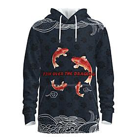 Men's Weekend Pullover Hoodie Sweatshirt Geometric Graphic Chinese Style Hooded Casual Streetwear Hoodies Sweatshirts  Long Sleeve Navy Blue