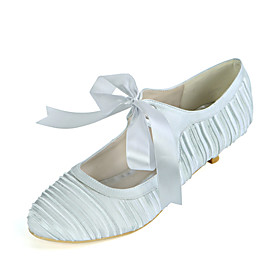 Women's Wedding Shoes Kitten Heel Round Toe Sweet Wedding Party  Evening Ribbon Tie Solid Colored Satin White / Champagne / Royal Blue