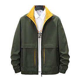 Men's Jacket Regular Solid Colored Daily Active Black Army Green Light Blue M L XL