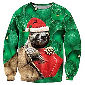 funny 3d ugly christmas sweater men hilarious santa sloth graphic sweatshirts winter fall personalized plus size xmas sweater shirts jumpers for women man male