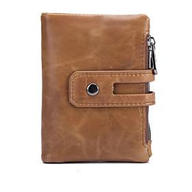 Men's Bags Cowhide Wallet Zipper for Office  Career Maroon