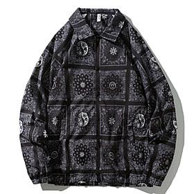 Men's Buttoned Front Jacket Regular Geometric Daily Black Blue Orange M L XL