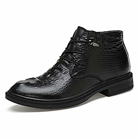 men's ankle boots fooling grade crocodile print ox leather high top formal shoes(quick velvet optional) (color : warm black, size : 3.5 m us big kid)