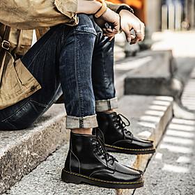 Men's Boots Classic / Casual / Vintage Daily Outdoor Walking Shoes Cowhide Warm Waterproof Shock Absorbing Wine / Black / Brown Gradient Fall / Winter
