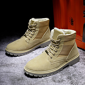 Men's Boots Casual Outdoor Walking Shoes PU Breathable Non-slipping Shock Absorbing Black / Khaki Winter