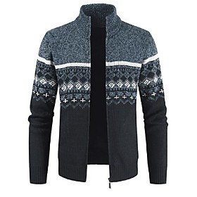 Men's Argyle Cardigan Long Sleeve Sweater Cardigans Stand Collar Winter Wine Light gray Dark Gray