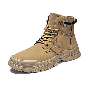 Men's Boots Casual Daily Outdoor Walking Shoes Faux Leather Wear Proof Booties / Ankle Boots Camel / Khaki / Beige Fall / Winter
