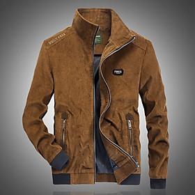 Men's Jacket Regular Solid Colored Daily Basic Blue Khaki Brown M L XL