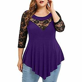 Frauen plus Größe Schößchen Bluse Spitze transparente T-Shirts Dreiviertelärmel T-Shirts lila 5xl Kotierung:10/19/2020; Speziell ausgewählte Produkte:Übergröße