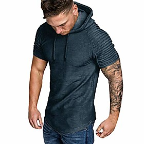 men's hoodie short sleeve shirts,casual o-neck pullover slim fit workout solid top blouse (gray, xl)