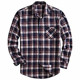 men's 100% cotton long sleeve plaid fleece shirt button up flannel shirt (dtf08, l)