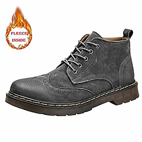 men's ankle boot winter faux fleece inside brogue british style high top leisure lace shoes teenager (color : warm gray, size : 6.5 m us)