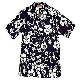brand hibiscus pareo men's hawaiian shirt navy blue 4x