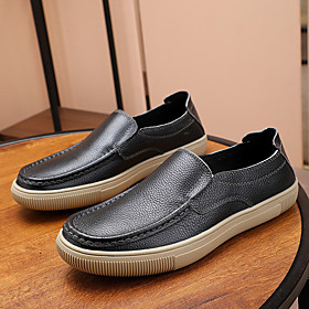 Men's Loafers  Slip-Ons Casual Daily Leather Wear Proof Black / Brown / Coffee Spring / Fall