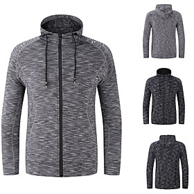 Men's Hoodie Jacket Front Zipper Stand Collar Spandex Solid Color Sport Athleisure Hoodie Long Sleeve Breathable Quick Dry Sweat Out Comfortable Exercise  Fitn