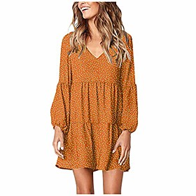 aihihe women long sleeve polka dot printed dress v neck spring summer casual ruffle flowy mini dresses sundress Listing Date:10/15/2020