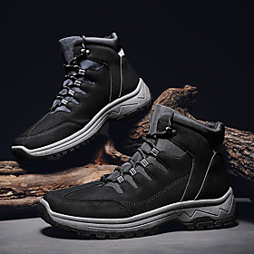 Men's Boots Casual Outdoor Walking Shoes PU Breathable Non-slipping Wear Proof Black / Brown / Gray Winter