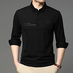 Men's 1 Piece Golf Polo Shirts Solid Color UV Sun Protection Breathable Quick Dry Autumn / Fall Spring Winter Sports Outdoor / Cotton / Long Sleeve / Stretchy