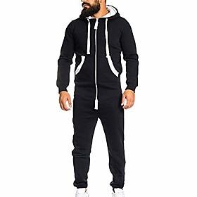 men's jumpsuit playsuit sportswear one zip onesie hoodie solid sports jumpsuit playsuit romper (black,us-xl/label-2xl)