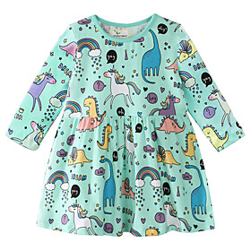 Kids Girls' Sweet Dinosaur Geometric Print Long Sleeve Above Knee Dress Rainbow