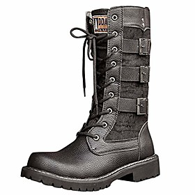 men's dress shoes motorcycle boots leather lined oxfords strappy faux fur mid calf riding combat boots with buckle black