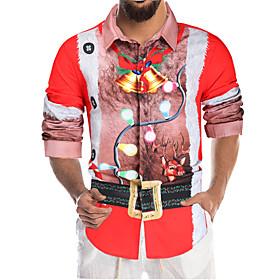 Men's Christmas Plus Size Shirt Graphic Cartoon Print Long Sleeve Tops Hawaiian Classic Collar Rainbow / Halloween