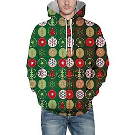 Men's Christmas Pullover Hoodie Sweatshirt Print 3D Graphic Christmas Hoodies Sweatshirts  Green
