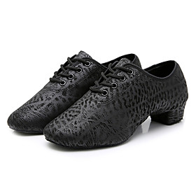 Men's Dance Shoes Latin Shoes / Jazz Shoes / Modern Shoes Oxford Heel Bows Thick Heel Customizable Black / Ballroom Shoes / Practice