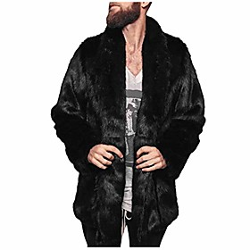 fashion mens warm thick fur collar coat jacket faux fur parka outwear cardigan