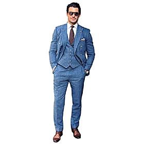 butamp; #39;s 3 piece herringbone suit tweed vintage groomsmen wedding blazer tux vest amp; trousers blue