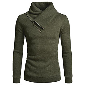 (nknkkt731 mens fleece lined sweatshirt zip turtleneck slim cut knit sweater khaki us l(tag size l)