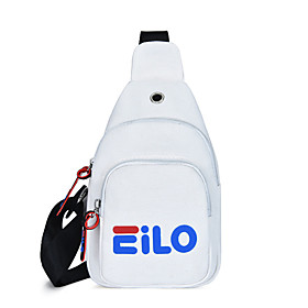 Men's Bags Polyester / Canvas Sling Shoulder Bag Pattern / Print Zipper for Daily / Outdoor White / Black