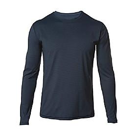 men's a4 long-sleeve microstripe workout shirt-indigo blue/black-medium