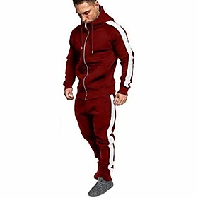 2019 new men tracksuits casual jogger set long sleeve full zip hoodie sweatshirt  joggers pant sportsuit - limsea red
