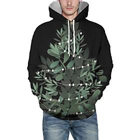Men's Christmas Pullover Hoodie Sweatshirt Plants 3D Graphic Christmas Hoodies Sweatshirts  Black