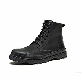 men's dress casual leather martin boots fashion british style high-top boots comfort classic zipper working boots retro trend lace-up boots elevator shoes