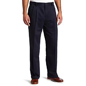 men's comfort-waist pleated khaki pant, navy - discontinued, 38w x 34l
