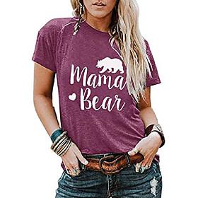 Frauen Mama Bär Grafik T-Shirts Baumwolle Kurzarm O-Ausschnitt niedlichen Brief drucken bequeme lose Bluse T-Shirts Kotierung:10/16/2020