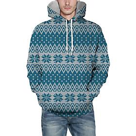 Men's Christmas Pullover Hoodie Sweatshirt Plaid Checkered 3D Graphic Christmas Hoodies Sweatshirts  Light Blue