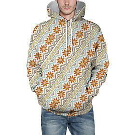 Men's Christmas Pullover Hoodie Sweatshirt Lines / Waves 3D Graphic Christmas Hoodies Sweatshirts  Orange
