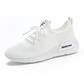 Women's Trainers / Athletic Shoes Flat Heel Round Toe Casual Daily Solid Colored Mesh White / Black / Pink