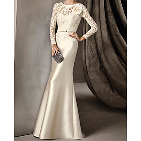 Mermaid / Trumpet Elegant Vintage Engagement Formal Evening Dress Illusion Neck Long Sleeve Sweep / Brush Train Lace Satin with Sash / Ribbon Appliques 2020