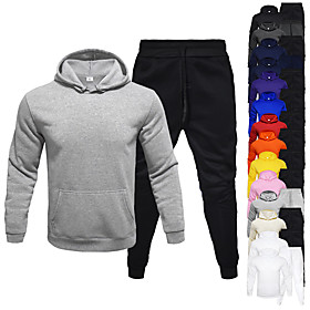 Men's 2-Piece Drawstring Tracksuit Sweatsuit Jogging Suit Athleisure Long Sleeve 2pcs Winter Thermal Warm Breathable Moisture Wicking Fitness Gym Workout Runni