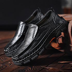 Men's Loafers  Slip-Ons Casual Daily Walking Shoes PU Breathable Handmade Non-slipping White / Black / Blue Fall